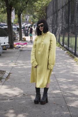 Julia wears NOM*d dress, Underground Sundae Jewellery, Stolen Girlfriends Club eyewear and boots