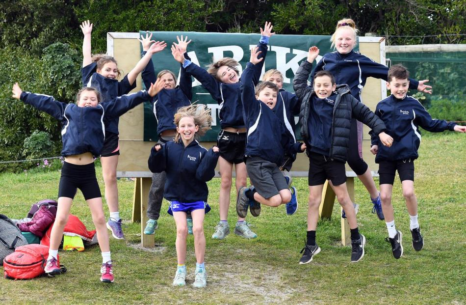 Portobello School pupils get excited before yesterday's Ariki Cup cross-country held at Kettle Park.
