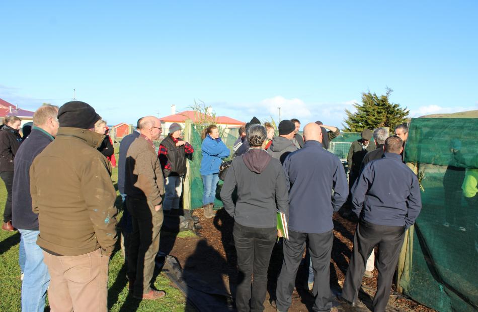Pourakino Catchment Group field day attendees listen in on tips and tricks provided by guest speakers.
