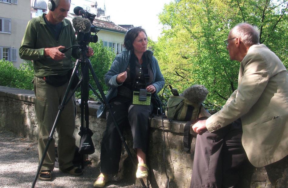 Shane Loader and Andrea Bosshard interview Kobi Bosshard at Lindenhof, Zurich, Switzerland, for their film Kobi.