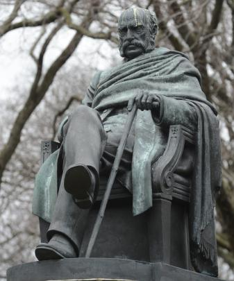 The statue of the Rev Dr Donald Stuart in its present location in lower High St. Photo: Gerard O...