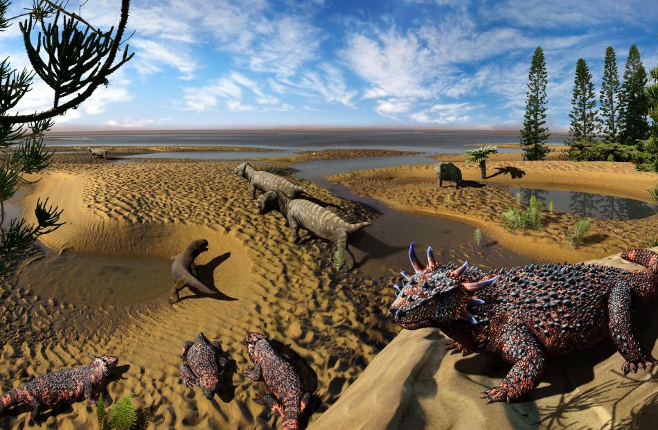 """Pareiasaur (""""cheek lizard'') was a medium to large herbivore possibly related to modern turtles."""