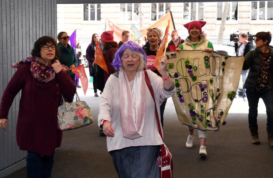 Protesters storm the Dunedin Hospital. Photo: Stephen Jaquiery