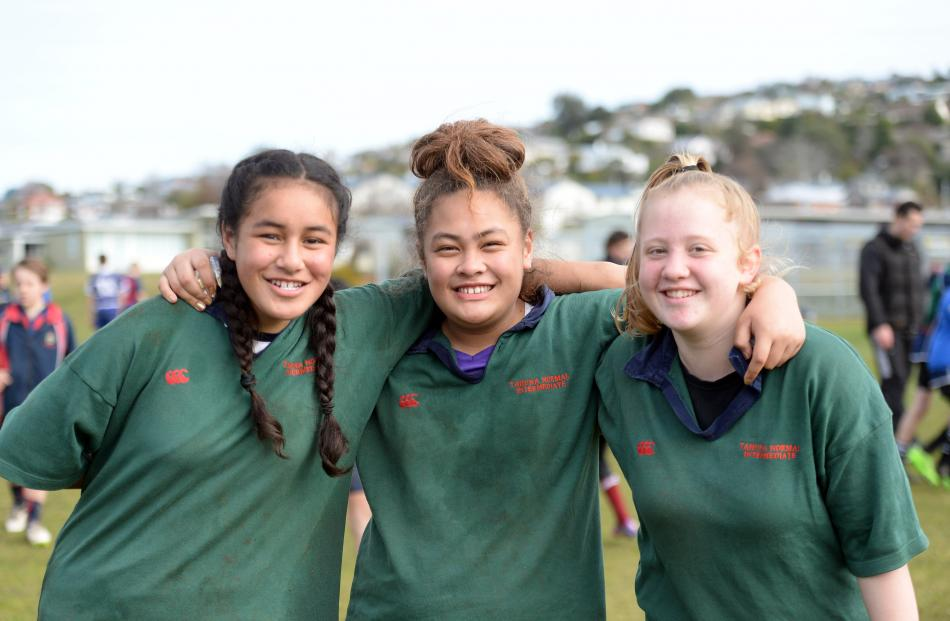 Tahuna Normal Intermediate players Leah Faitonu (13), Lani Luafitu (12) and Morgan Nelson (12).