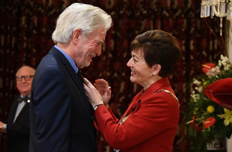 Peter Hayden, of Dunedin, is awarded the MNZM  by Governor-General Dame Patsy Reddy for services...