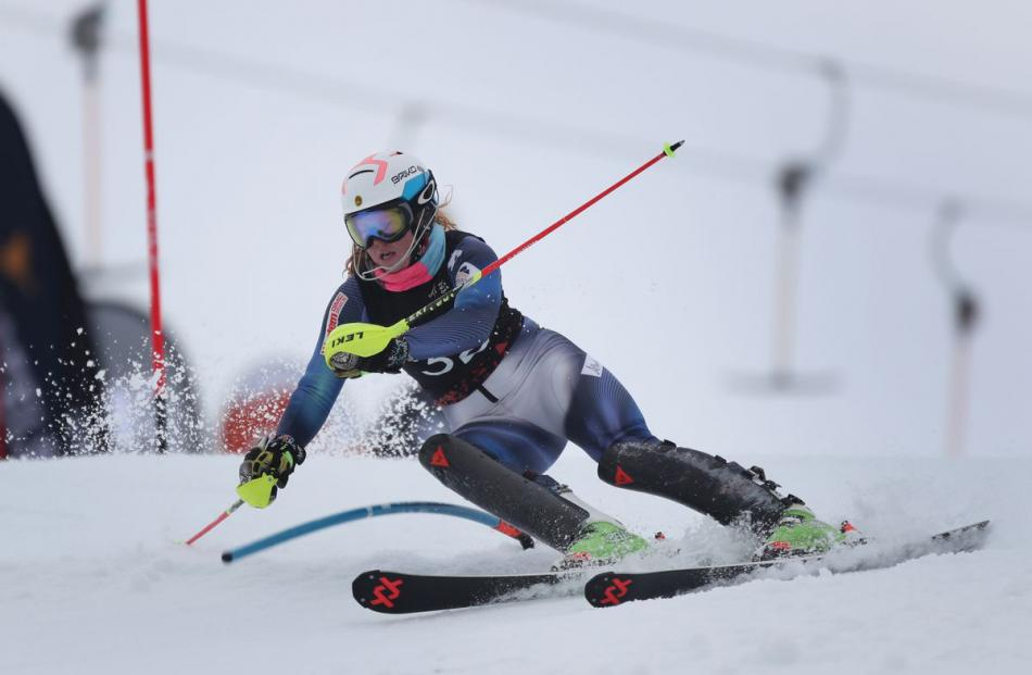 New Zealander Georgia Willinger competes in the Australia New Zealand Cup women's slalom. Photo:...