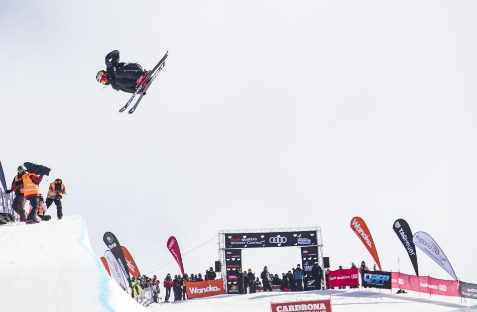 New Zealand halfpipe freeskier Nico Porteous gets some serious hang-time during the final of the...