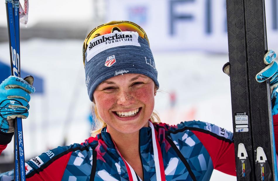 American Olympian Jessica Diggins after winning the 42km women's ski marathon race. Photo: Winter...