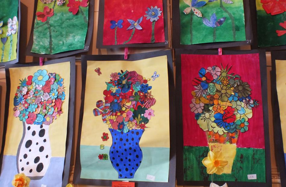 Colour is always to the fore in children's artworks at Outram and Waikouaiti.