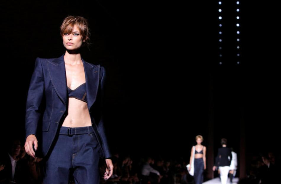 Tom Ford's collection at NYFW featured glamorous masculine-themed garments with a feminine finish. Photo: Reuters