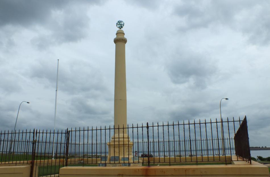 The Laperouse memorial dominates the skyline.
