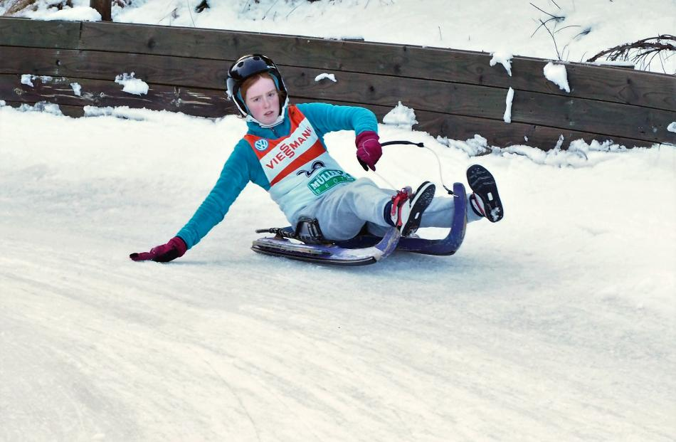 Ella Molteno competes in the luge at the Naseby Cup. Photo: Supplied