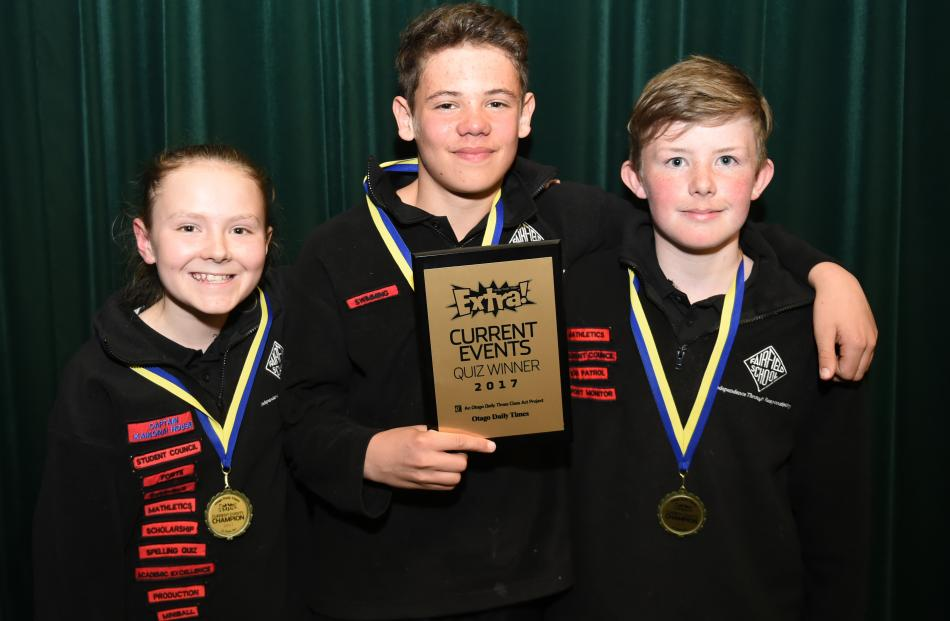 Year 7 and 8 winners Fairfield School No1 team members (from left) Annabel Kelly (12), Connor...