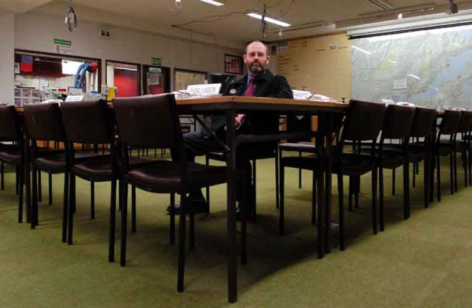 DCC civil defence manager Neil Brown in the Dunedin operations room. Photo by Gerard O'Brien.