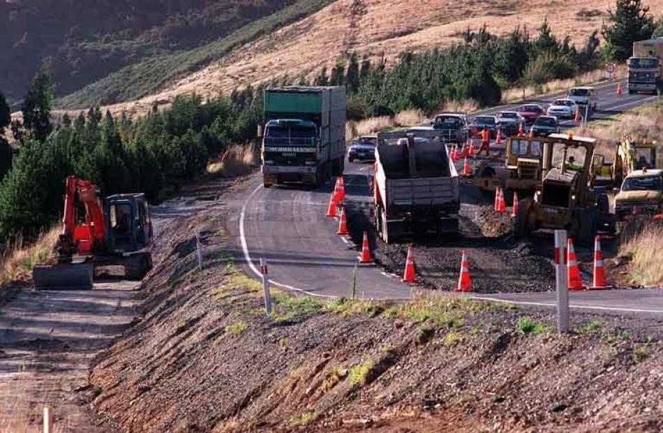 State Highway 1 over the Kilmog hill (shown here undergoing repair) could be hit by landslides.