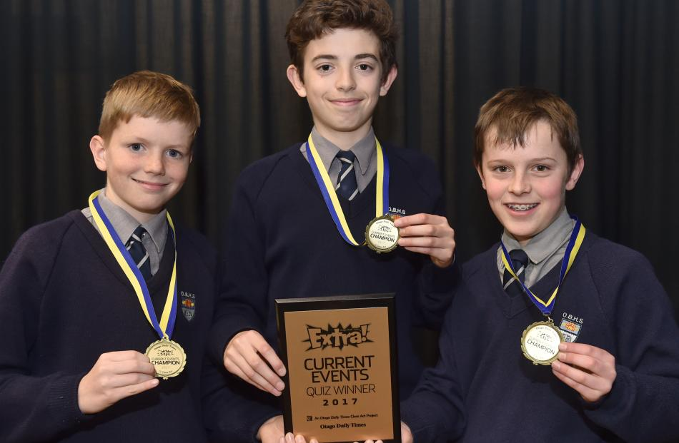 Otago Boys' High School pupils (from left) Michael Crosson, Luka Mandich and Luke Geddes.