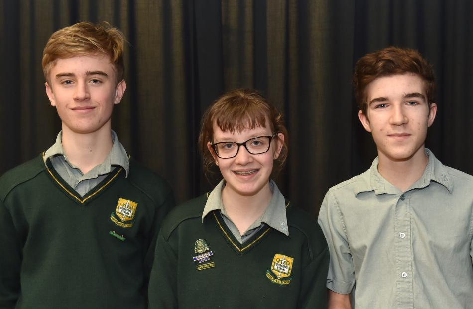 Bayfield High School pupils (from left) Finn Cattaway, Meg O'Connor and Ben Coory.