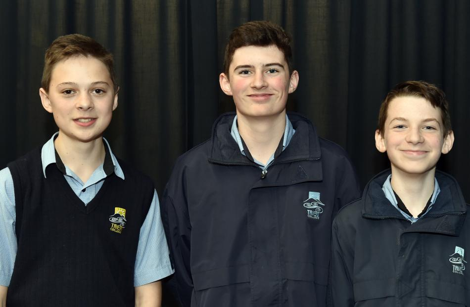Taieri College pupils (from left) Jacob Smith, Cameron Stewart and Gibson Wheeler.