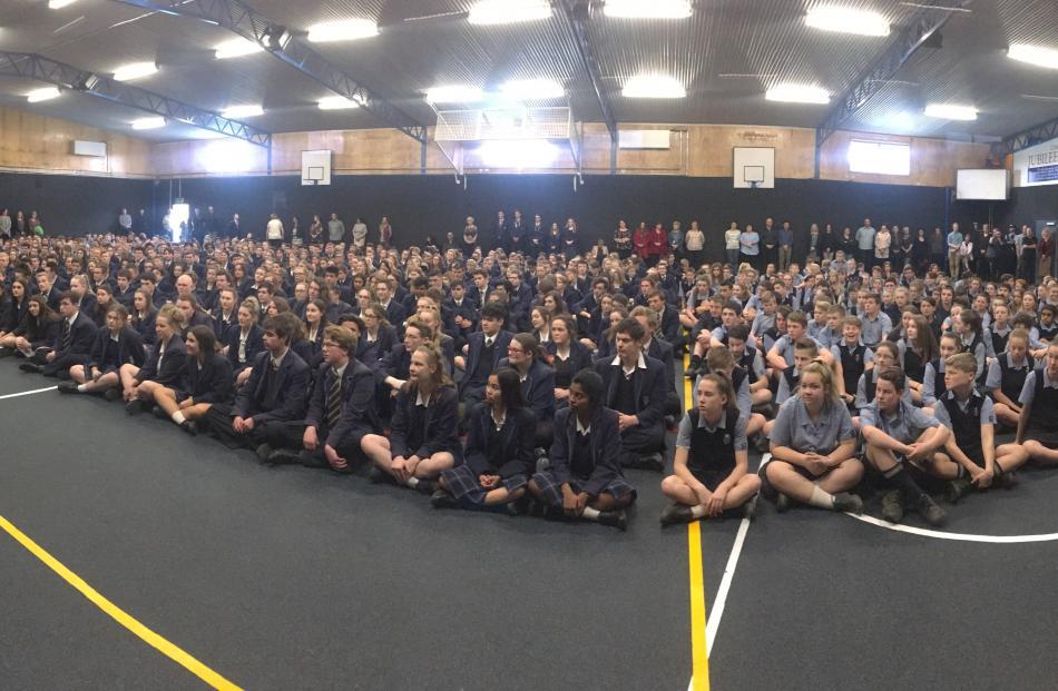 Jacinda Ardern speaks to pupils at Taieri College. Photo: Gerard O'Brien