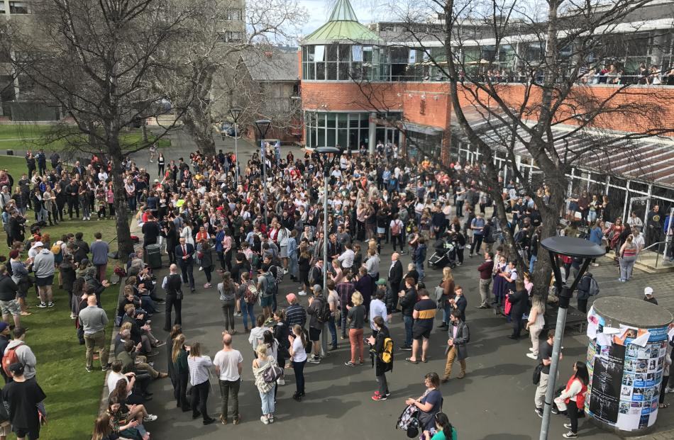 Crowds gather at the University of Otago. Photo: Margot Taylor