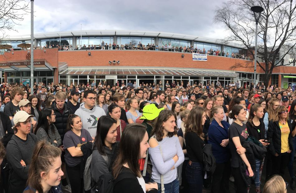 Jacinda Ardern speaks to crowds at the University of Otago. Photo: Gerard O'Brien