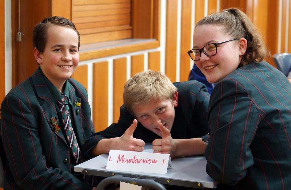 Mountainview High School pupils (from left) Jordan Hay, Oakley Howard and Tayna Smith (all 14)...