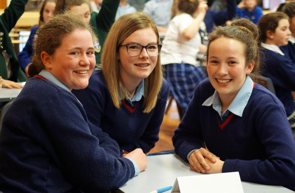 Year 9 and 10 section participants (from left) Gemma Taylor (14), Brooke Bennett (13) and...