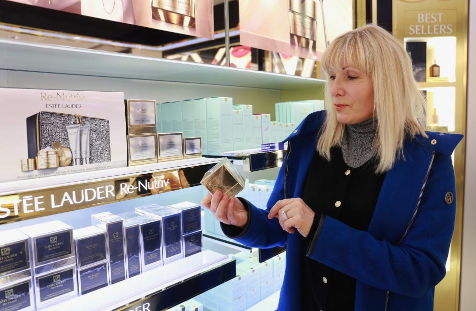 Lana's first purchase...some $300 Estee Lauder face cream
