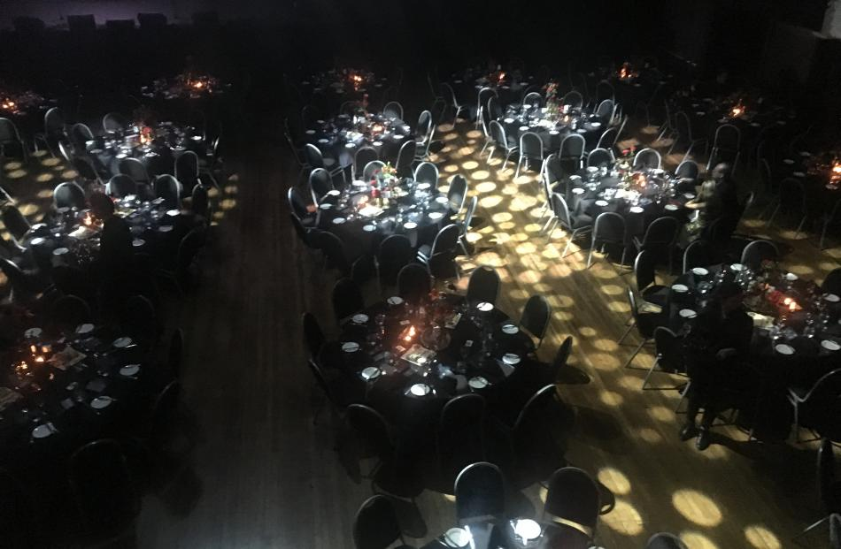 The Dunedin Town Hall is all set up for the city's first ever Apra Silver Scroll Awards. Photo: Craig Baxter