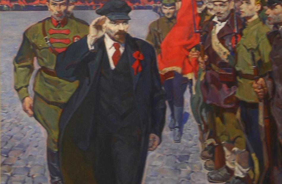 A Russian Socialist Realism painting featuring early 19th-century Russian revolutionary leader...