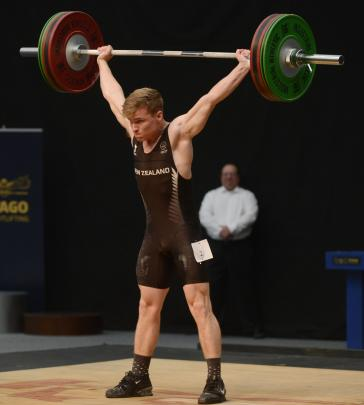 Albert Anderson, of Christchurch lifts the weights of 95kg in the 69kg/77kg grade at the National...