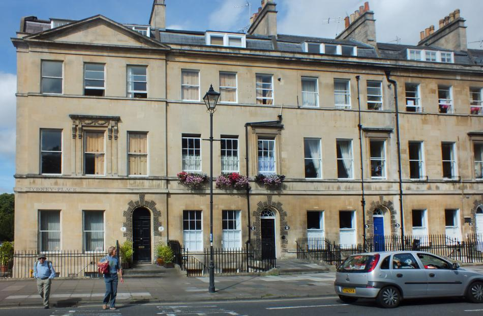 Sydney Place, Bath. Jane Austen lived at No4 (far right).