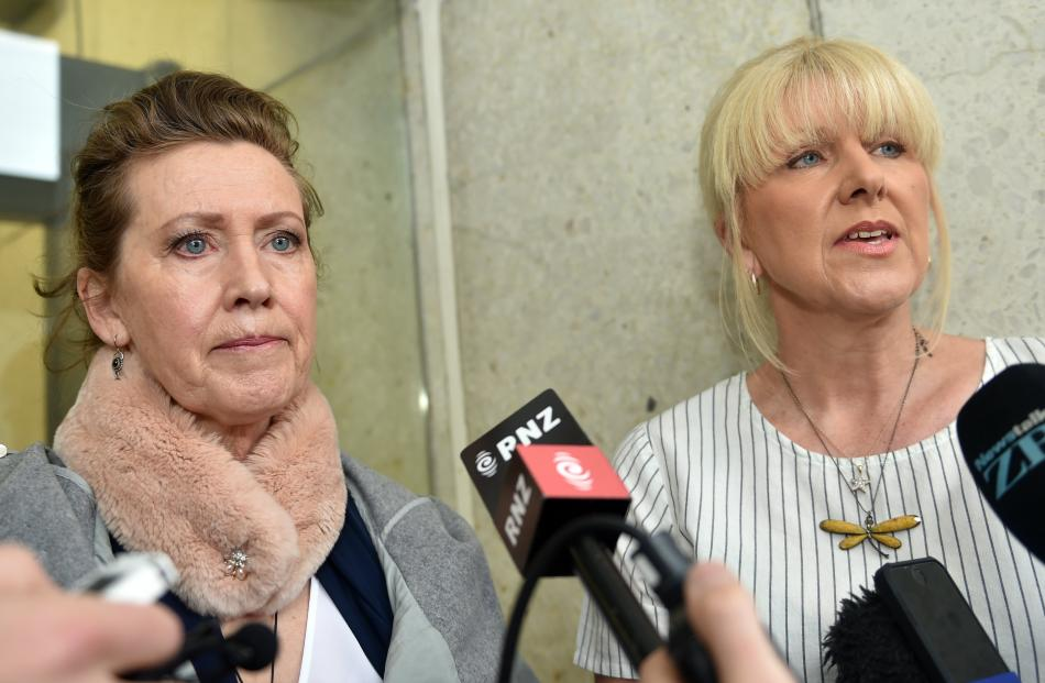 Murdered woman Sharon Comerford's sisters Jacqui Comerford (left) and Debi Ogle speak to media outside court. Photos: Staff Photographer
