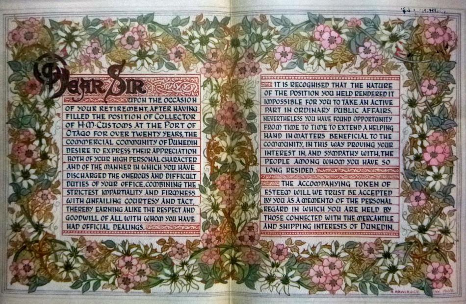 Full text of the illuminated address, which was finished with leather tooling and bookbinding by...