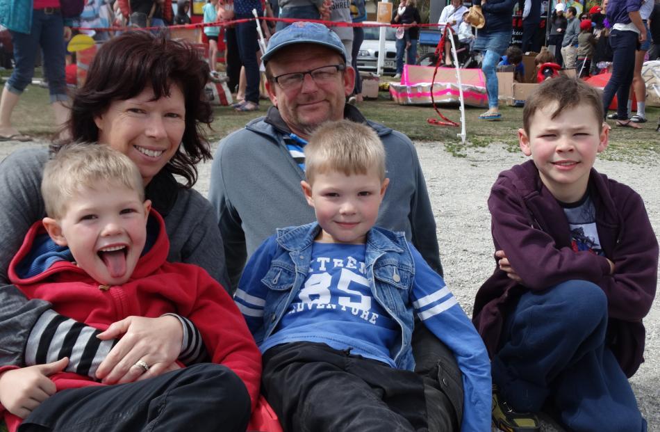 Jayden (5), Karen, Ewen, Brendan (5) and Liam McLeay (8), of Riversdale.