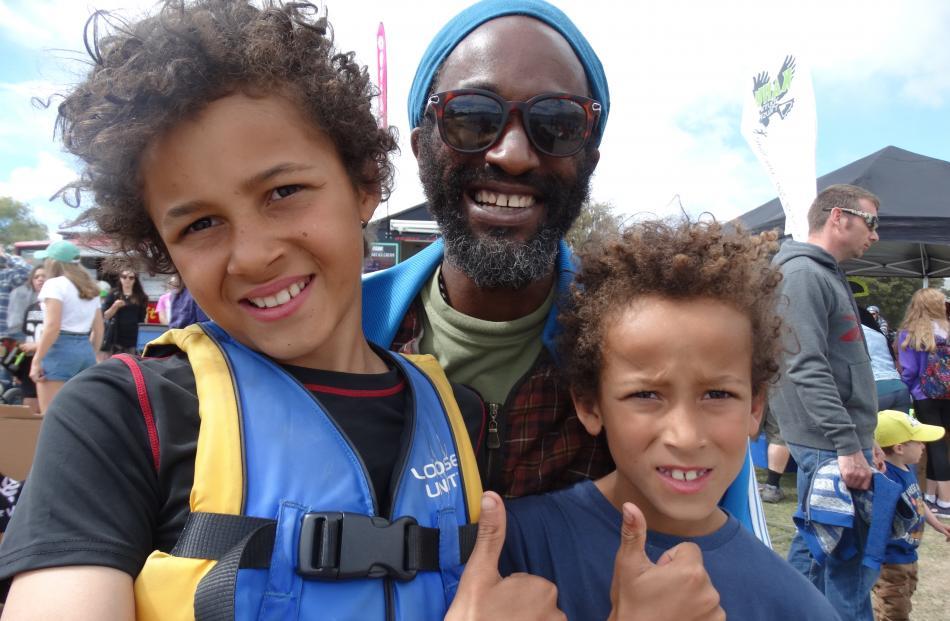 Harry (10), Rob and Otis Oxley (8), of Wanaka.
