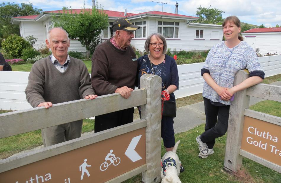 Norm Paterson and Forbes Knight, both of Millers Flat, Sue Wilson, of Roxburgh, holding the lead of Jock Wilson the dog, and Lucy McConway, of Millers Flat.