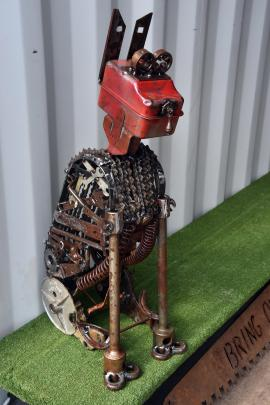 Dogs and birds feature heavily in Sara Gillies creations made from thrown-away metal items.