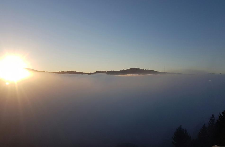 The wall of fog covering the city taken from Ravensbourne. Photo: Harold Robinson