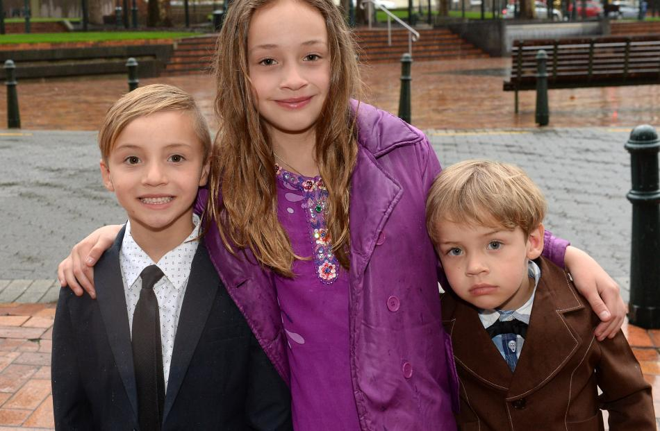 Jakob (6), Sienna (9) and Jesse (4) Brits, of Dunedin.
