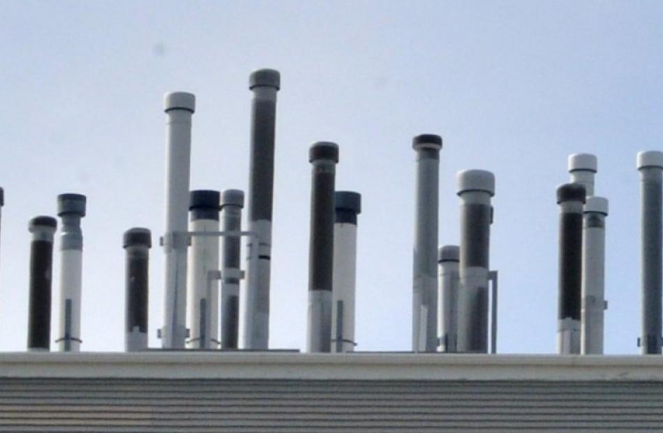 The ''hedgehog'' extraction system on the roof of the Science II building at the University of...