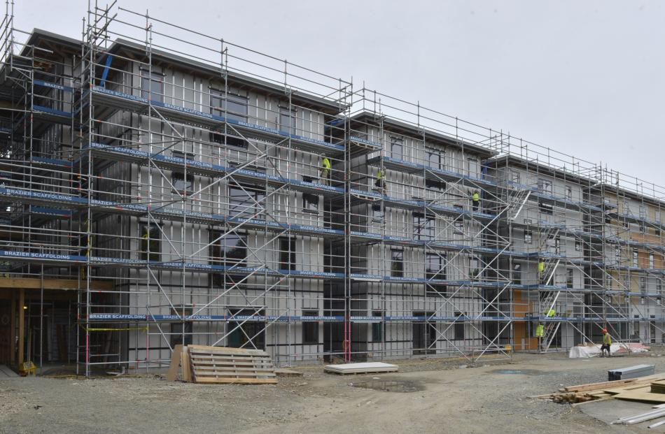 The Otago Polytechnic's scaffold-shrouded student accommodation village.