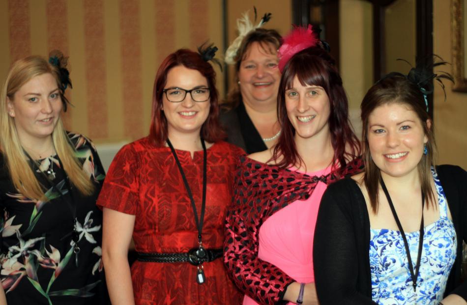 Enjoying a Melbourne Cup day lunch at the Brydone Hotel are Waitaki District Council staff Jessica Mason, Rhiannon McLean, Tricia LeSueur, Jessie Knight and Monique Hamilton.