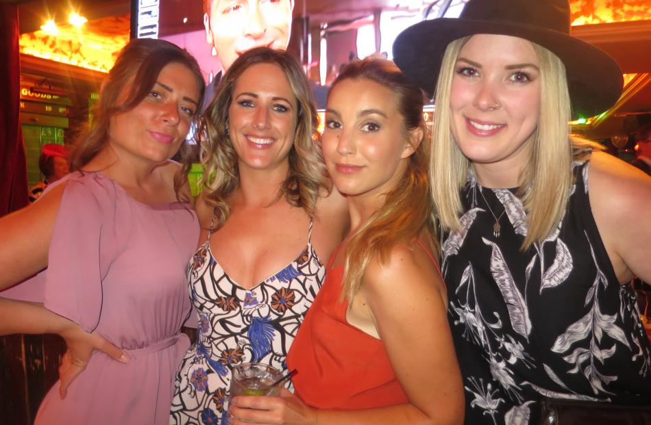 Lauren Miller, Kate Lynch, Sophie Wood and Linn Strandberg, all of Queenstown, enjoy the Melbourne Cup party at The Ballarat Trading Co in Queenstown.
