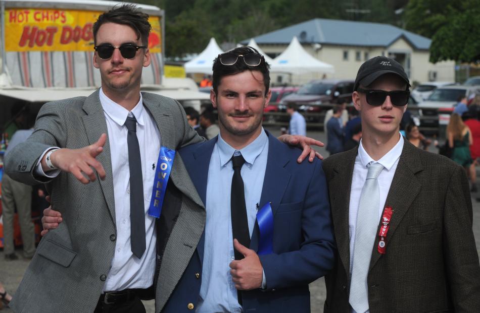 Jack Green, of Greymouth, Ethan Macmillan, of Waimate and Chris McNoe, of Dunedin at the Wingatui...