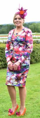 Vernetia Cairney, of Dunedin, winner of the Fashion in the Field event at Wingatui.