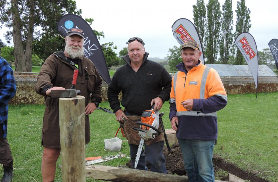 Fencing tutors (from left) John Noakes and Shane Bouskill talk to Ken Lake from Alexandra ahead of their next demonstration at Parkside Quarries.  Photos: Sally Brooker