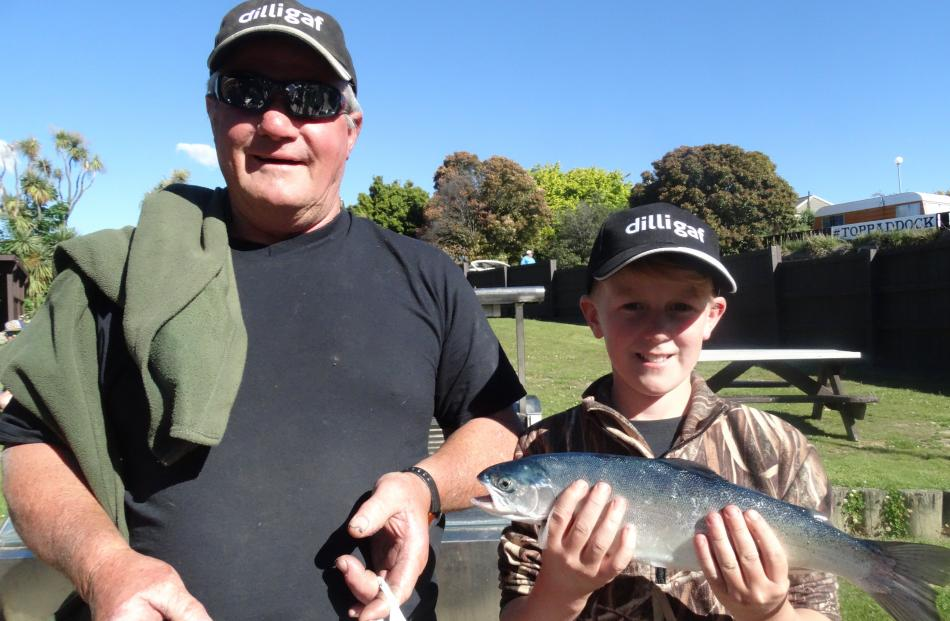 Dave Jeffries, of Clyde, and Blake Cornish (10), of Alexandra.