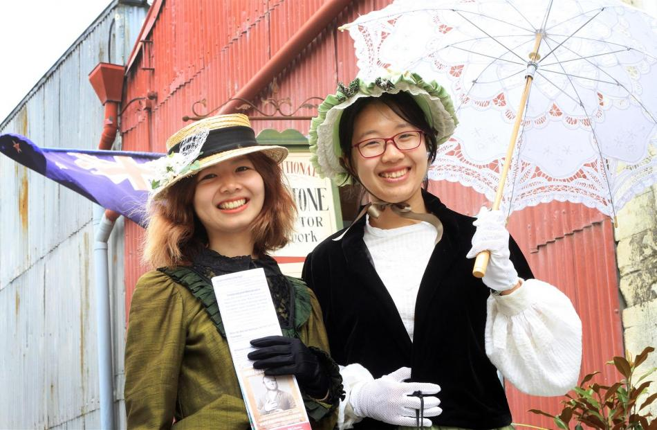 Taking to Harbour St in fine Victoriana style are Fiona Liang, of Guangxi Province, China, and Li Hua, of Guangzhou, China. Both took time away from their Tekapo jobs to enjoy Oamaru's Victorian Heritage Celebrations, which began yesterday. Photos: Hamish