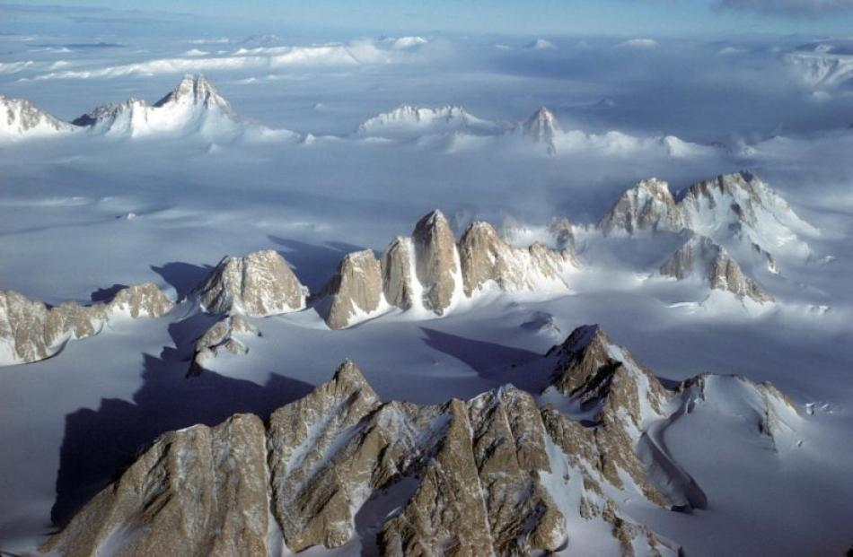 The Organ Pipe Peaks (in the centre of the photo) in the Gothic Mountains in the Antarctic. The...